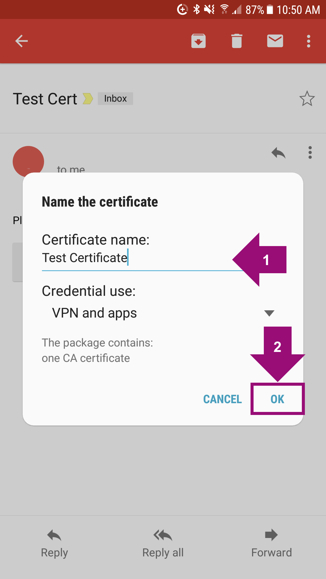 Installing an SSL Certificate on an Android Device (Manually)