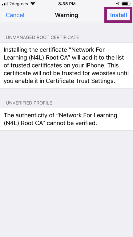 Installing an SSL Certificate on an iOS Device (Manually)